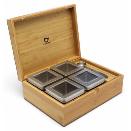 Bredemeijer Бамбукова кутия за чай с 4 канистъра и дозаторна лъжица